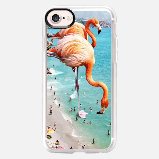 Flamingos on the beach iPhone and iPod Case -