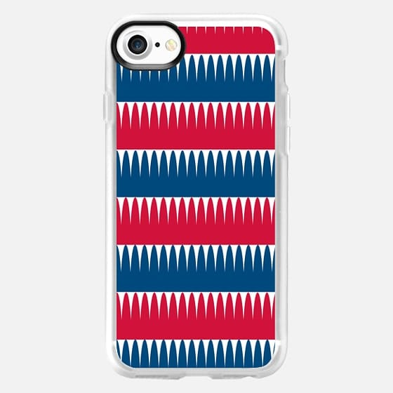 Blue, red and white -
