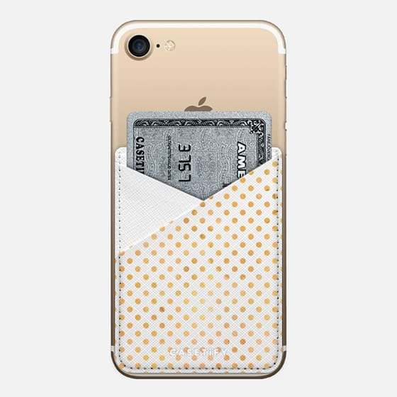 Gold dots - Saffiano Leather Phone Wallet