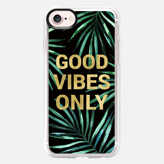 GOOD VIBES ONLY TROPICAL LEAVES ON BLACK WATERCOLOR  TEXT FAUX GOLD PALM TREE SUMMER BEACH CALIFORNIA COAST AQUA GREEN - Wallet Case
