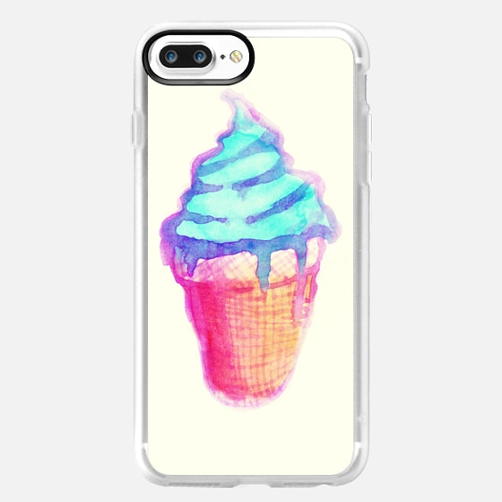 Funky Cool Drippy Ice Cream Cone in Watercolors -