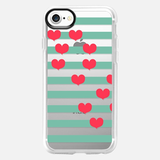 Romantic Love Hearts on Transparent and Teal Stripes - Wallet Case