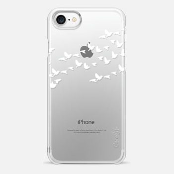 iPhone 7 Case Modern White Birds on Transparent Background