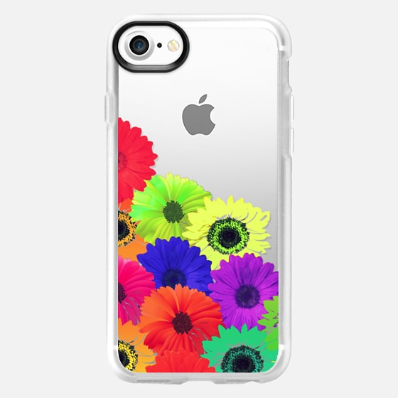 Bright Neon Colorful Flowers Pattern Collage on Transparent Background - Wallet Case