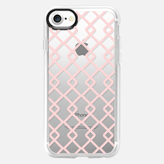 Baby Pink Criss Cross Geometric Squares Pattern on Transparent Background -
