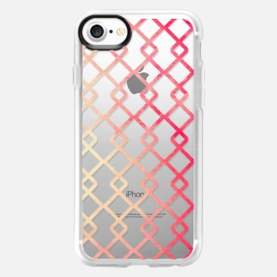 Rustic Pink Watercolor Painted Criss Cross Geometric Squares on Transparent Background - Wallet Case