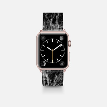 Apple Watch Band (42mm)  Modern Trendy Black and White Marble Stone Pattern