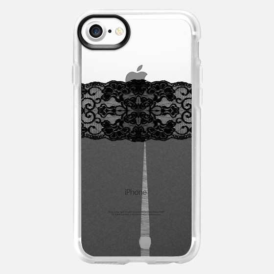 Ripped Black Lace Stockings on Transparent Background - Wallet Case