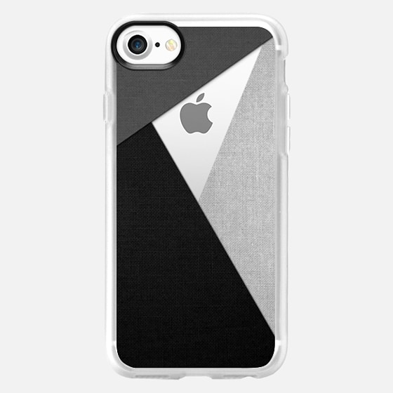Black, White, and Grey Tri-Cut Fabric - Wallet Case