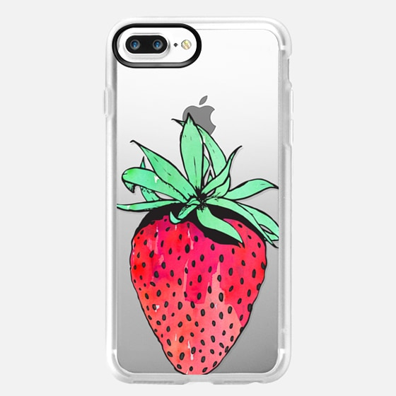 Cute Red & Green Watercolor Painted Hand Drawn Fruity Summer Strawberry on Transparent Background -