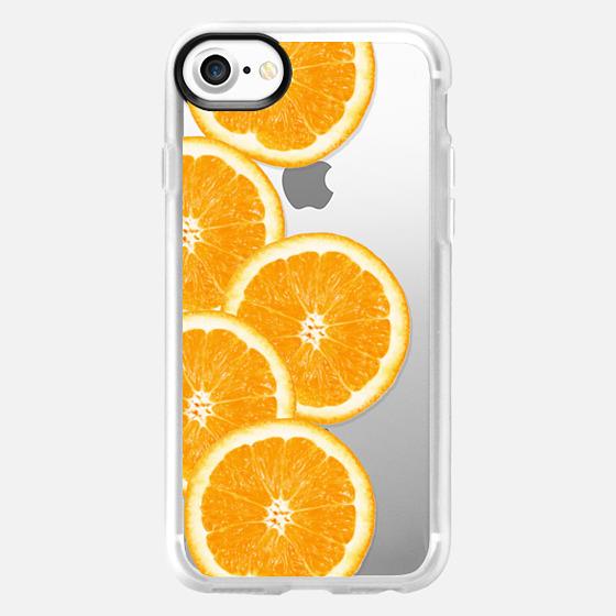Refreshing Fruity Citrus Oranges Summer Pattern on Transparent Background -