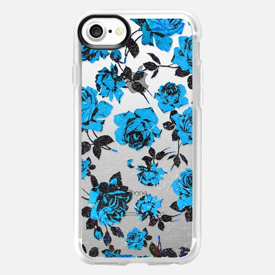 Rustic Blue and Black Rose Flowers on Transparent Background - Wallet Case