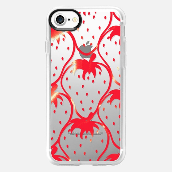 Bright Red Summer Fruity Watercolor Strawberries Pattern on Transparent Background - Wallet Case