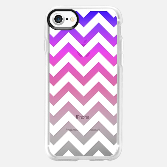 Colorful Blue, Purple, Pink, and White Chevron Zigzag Pattern Gradient on Transparent - Wallet Case