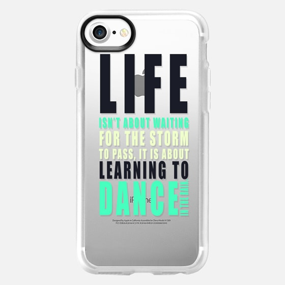 """...LEARNING TO DANCE IN THE RAIN."" Text Motivational Typography on Transparent - Wallet Case"
