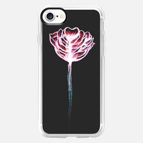 Pink & Teal Watercolor Paint Rose Flower Color Drip on Dark Gray -