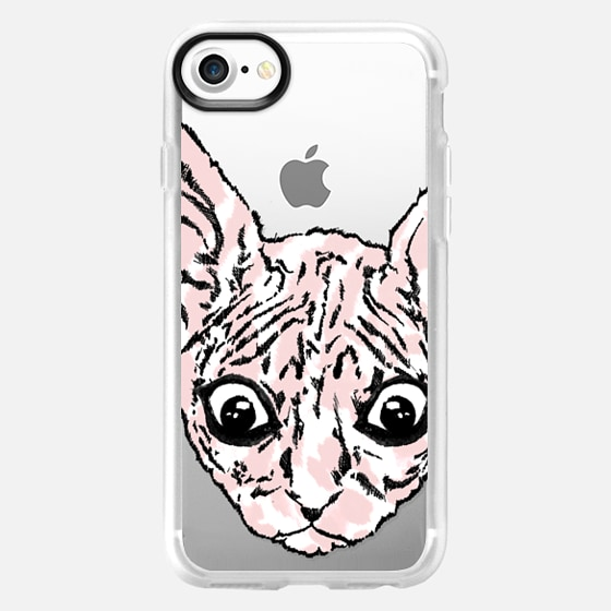 Pink Funny Cute Beady Eyed Sphynx Cats Animals on Transparent Background - Wallet Case
