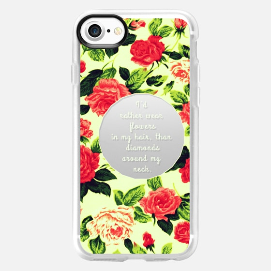 """""""...Flowers in My Hair"""" Text Typography on Pink Vintage Roses Flowers Pattern- Transparent - Wallet Case"""
