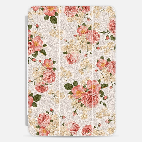 Pink Vintage Painted Roses Flowers Pattern - Photo Cover