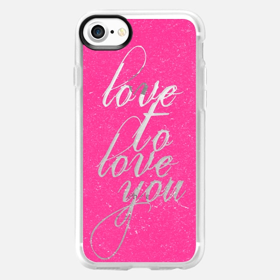 """Hot Pink """"Love To Love You"""" Text Typography on Transparent  - Wallet Case"""