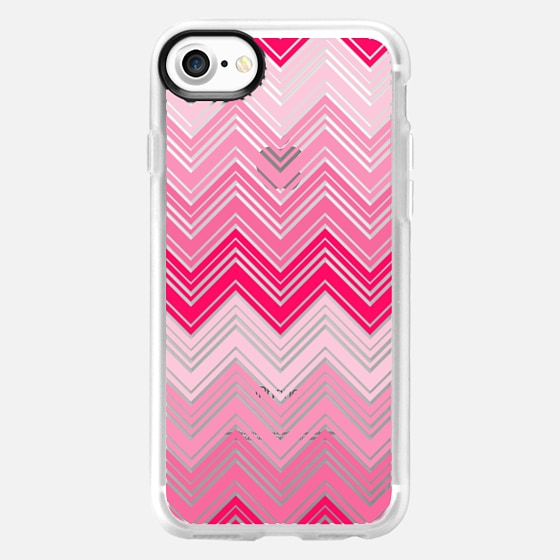 Girly Pink Zigzag and Transparent Chevron Pattern - Wallet Case