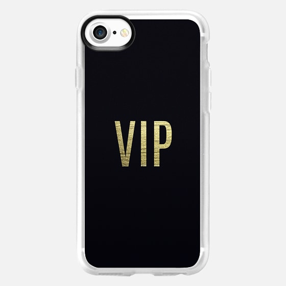 """""""VIP"""" Faux Gold Leaf Text Typography on Midnight Black - Wallet Case"""