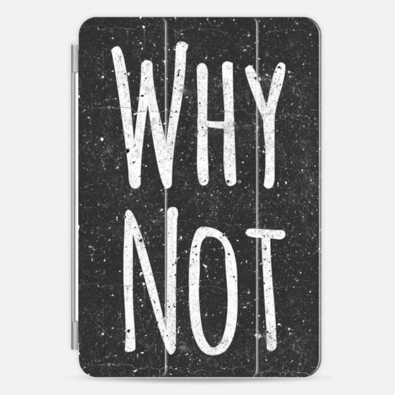 """Why Not"" White Text Typography on Black Grungy Speckled Background - Photo Cover"