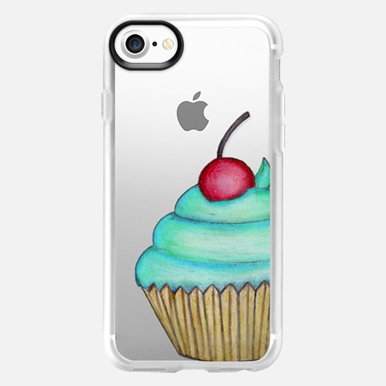 Yummy Blue Cupcake and Cherry on Top- Transparent -