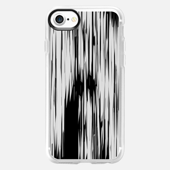 Black & White Jagged Linear Shapes Stripes Pattern - Wallet Case