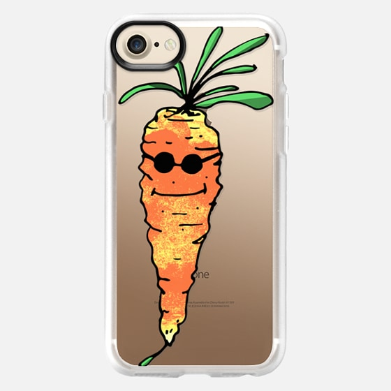 Cute Watercolor Painted Carrot Vegetable with Sunglasses in Orange, Yellow, & Green- Transparent - Wallet Case