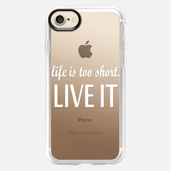 """""""Life is too short. Live it."""" White Text Typography- Transparent - Wallet Case"""