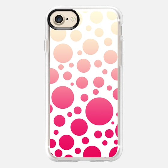 Girly Vintage White to Pink Gradient Polka Dots Pattern - Wallet Case