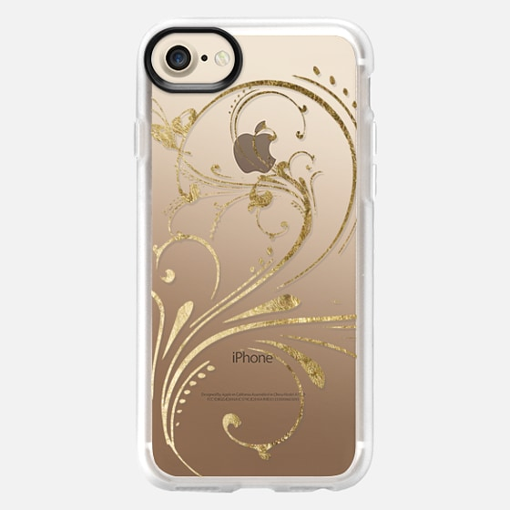 Elegant and Pretty Faux Gold Swirl- Transparent - Wallet Case