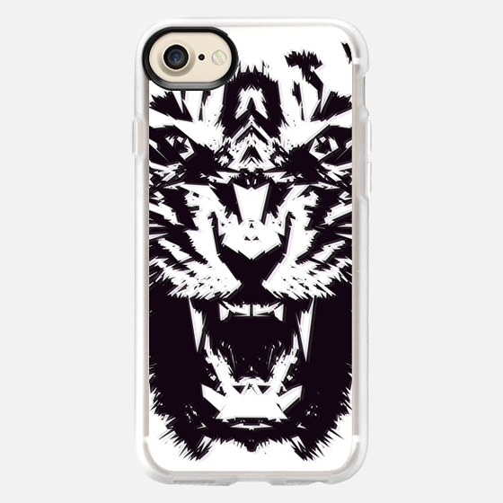 Modern Abstract Tiger Jagged Pattern Black and White  - Wallet Case