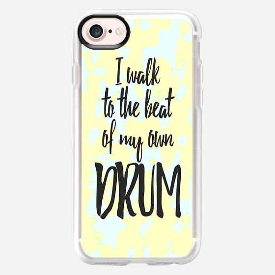 I Walk to the Beat of my Own Drum White Text Typography on Sunny Yellow Abstract Camo -