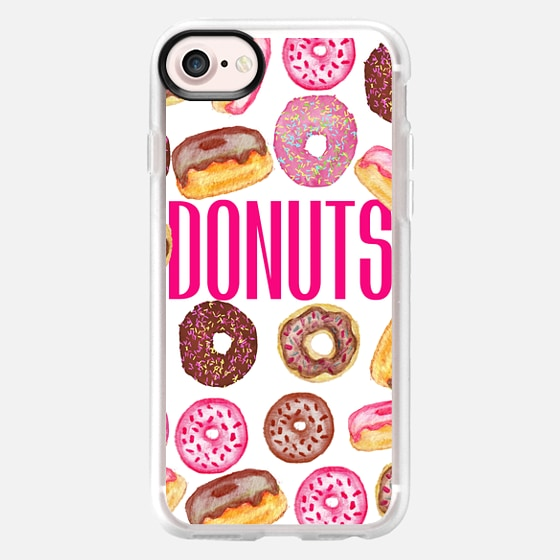 DONUTS Typography and Watercolor Assorted Donuts - Wallet Case