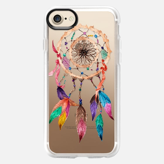 Native American Watercolor Beads and Jewels Boho Feather Dream Catcher - Wallet Case