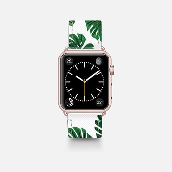 Apple Watch Band (42mm)  Tropical Green Watercolor Painted  Swiss Cheese Plant Leaves