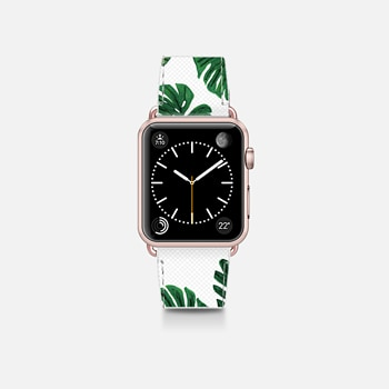 Apple Watch Band (38mm)  Tropical Green Watercolor Painted  Swiss Cheese Plant Leaves