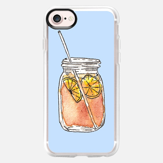 Summer Sun Iced Tea with Lemons Hand Painted Waterolor Drink in a Mason Jar on Cool Blue - Wallet Case