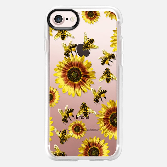Summer Bright Yellow Sunflower Flowers and Honey Bees Pattern- Transparent - Wallet Case