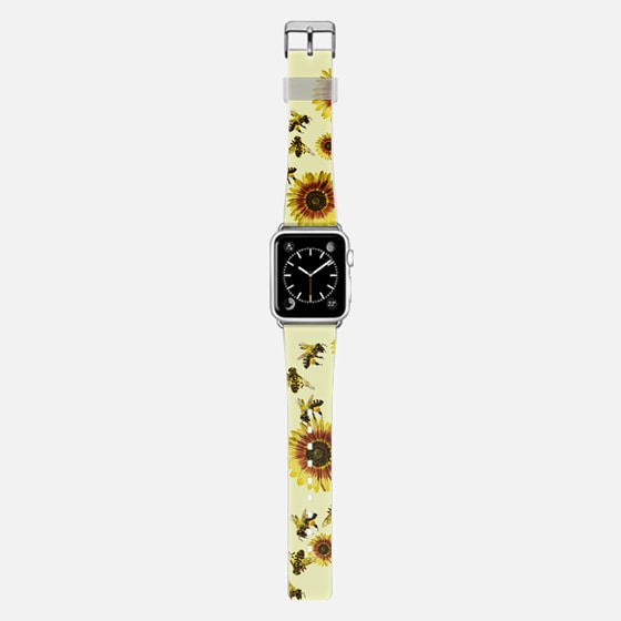 Summer Bright Yellow Sunflower Flowers and Honey Bees Pattern on Pale Yellow -