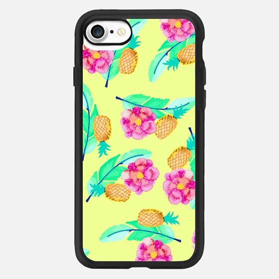 Modern Flower Pineapple Foliage Colorful Pattern - Wallet Case