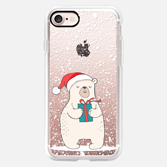 Cute Winter Polar Bear with Christmas Gift and Hat on a Blanket of Snow -
