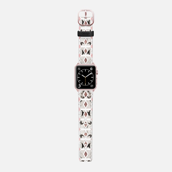 Rose Blush Pink and Black and White Marble Diamond Geometric - Saffiano Leather Watch Band