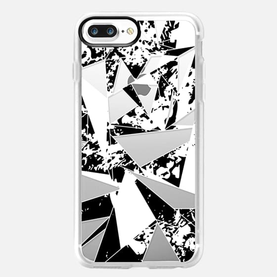 Modern Black and White Paint Splatter Geometric Triangles Pattern- Transparent -