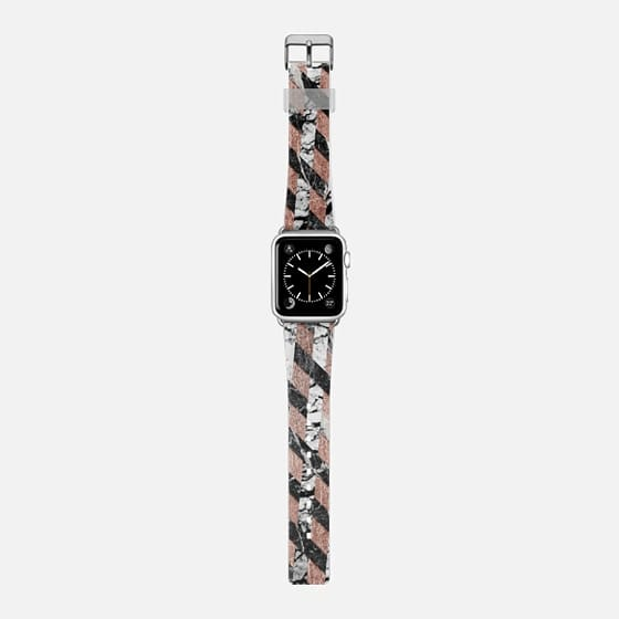 Modern Black and White Crisscross Marble Striped Pattern on Faux Rose Gold -