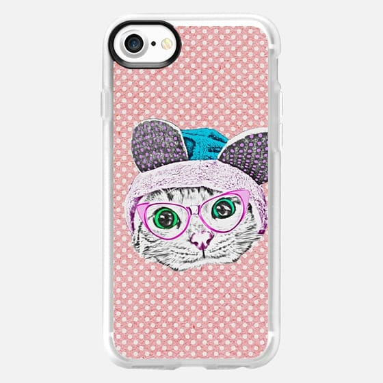 Cute Funny Kitty Cat with Geek Nerd Glasses and Bunny Hat on Pink Polka Dots -