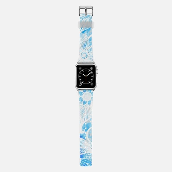 White Floral Lace Drawings on Cool Blue Tie Dye -