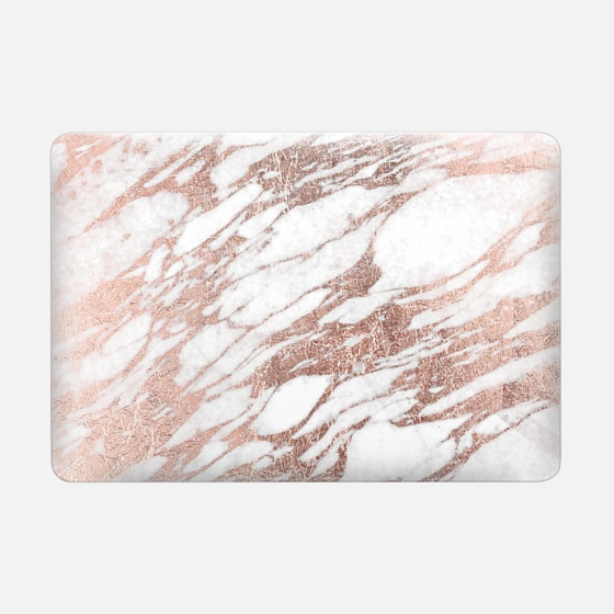 Macbook Air 13 Hülle - Elegant Chic Faux Rose Gold and White Marble Pattern